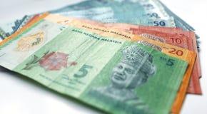 Währung des malaysischen Ringgit auf weißem Hintergrund Stockfotos