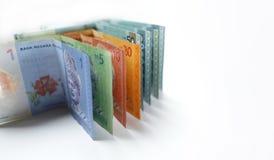 Währung des malaysischen Ringgit auf weißem Hintergrund Stockbild