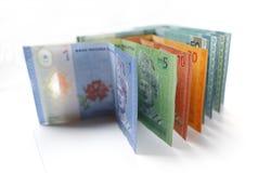 Währung des malaysischen Ringgit auf weißem Hintergrund Stockfoto