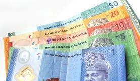 Währung des malaysischen Ringgit auf weißem Hintergrund Lizenzfreie Stockfotografie
