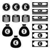 Währung, Finanzierung, Geldikone Vektor Abbildung