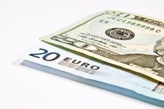Währungen Euro und Dollar Stockbilder