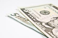 Währungen Euro und Dollar Lizenzfreies Stockbild