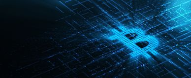 Währungs-Technologie-Geschäfts-Internet-Konzept Bitcoin Cryptocurrency lizenzfreie abbildung