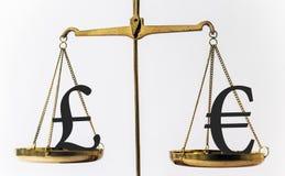 Währungs-Verhältnis des britischen Pfunds und des Euros Stockfotografie