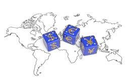 Währungs-Weltkarte Stockbild
