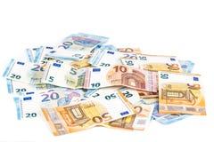 Währungseurobanknoten-Rechnungshintergrund der Europäischen Gemeinschaft Euro 2, 10, 20 und 50 Konzepterfolgsreichwirtschaft Auf  Stockfotos