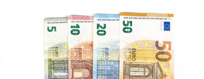 Währungseurobanknoten-Rechnungshintergrund der Europäischen Gemeinschaft Euro 2, 10, 20 und 50 Konzepterfolgsreichwirtschaft Auf  Stockbild