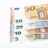 Währungseurobanknoten-Rechnungshintergrund der Europäischen Gemeinschaft Euro 2, 10, 20 und 50 Konzepterfolgsreichwirtschaft Auf  Lizenzfreies Stockfoto