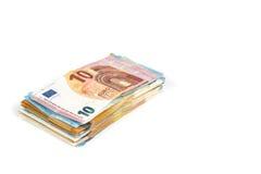 Währungseurobanknoten-Rechnungshintergrund der Europäischen Gemeinschaft Euro 2, 10, 20 und 50 Konzepterfolgsreichwirtschaft Auf  Stockbilder