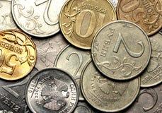 Währungshintergrund von den russischen Münzen Lizenzfreies Stockfoto