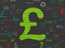 Währungskonzept: Pfund auf Wandhintergrund Stockfotos