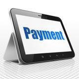 Währungskonzept: Tablet-Computer mit Zahlung auf Anzeige Stockbilder