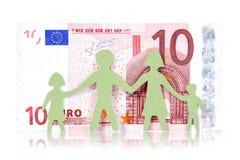 Papierfamilie und Banknote des Euros zehn Lizenzfreie Stockbilder