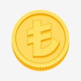 Währungszeichen der türkischen Lira auf Goldmünze Stockfotografie