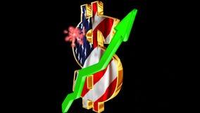 Währungszeichen mit einem Grün herauf Pfeil mit einem Gruß Konzept für Wachstum der Wirtschaft stock video