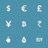 Währungszeichen-Vektor-Ikonen-Satz Lizenzfreies Stockbild