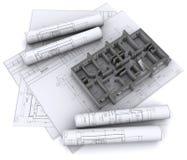 Wände auf Aufbauzeichnungen Lizenzfreie Stockbilder