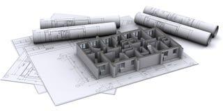Wände auf Aufbauzeichnungen Stockbild