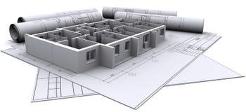 Wände auf Aufbauzeichnungen Stockfotografie