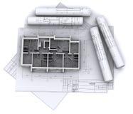 Wände auf Aufbauzeichnungen Lizenzfreies Stockbild