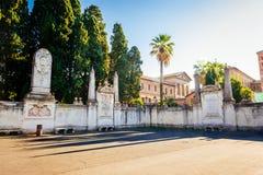 Wände, die das dominikanische Kloster auf dem Aventine-Hügel in Rom umgeben Stockbild