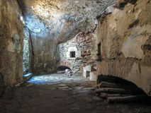 Wände innerhalb des Fort Lagarde-Monuments im Prats-De-Mollo-La-Preste, Pyrenäen-Orientales, Occitanie, Süd-Frankreich stockbilder