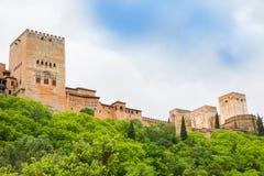 Wände und Türme von Alhambra-Palast, Granada - Spanien Lizenzfreies Stockbild