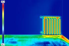 Wärmebild des Heizkörpers Stockfotos