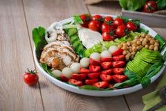 Wärmen Sie gegrilltes Geflügelsalat mit Gemüse und Früchten Lizenzfreies Stockbild
