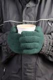Wärmen Sie Getränk im Winter Stockfotos