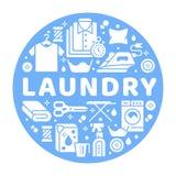 Wäsche-Service-Fahnenillustration mit flachen Glyphikonen Trockene Reinigungsanlage, Waschmaschine, Kleidungsschuh stock abbildung