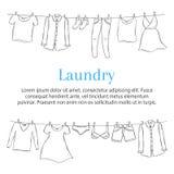 Wäsche-Service-Fahnenschablone mit der Kleidung, die an der Wäscheleine, Hand gezeichnete Skizze, Vektorillustration hängt Lizenzfreies Stockbild