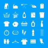 Wäsche-Service-Ikonen eingestellt, einfache Art lizenzfreie abbildung