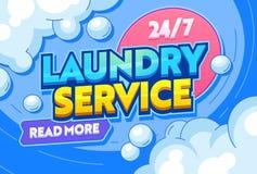 W?sche-Service-trockene Kleidungs-Textiltypographie-Fahne Waschende wasserhaltige Reinigungsmittel oder andere Chemikalie, Bewegu stock abbildung