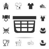 Wäschekorbikone Ausführlicher Satz Wäschereiikonen Erstklassiges Qualitätsgrafikdesign Eine der Sammlungsikonen für Website, Netz stock abbildung