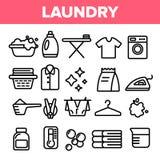 Wäscheleine-Ikonen-Satz-Vektor Schließen Sie herauf Schuß Saubere trockene Baumwolle Stoff-Wäscherei-Piktogramm Dünne Entwurfs-Ne vektor abbildung