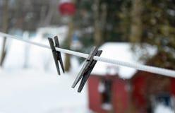 Wäscheleine im Winter Lizenzfreie Stockfotos