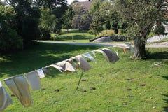 Wäscherei auf einer Kleidungzeile Lizenzfreies Stockbild