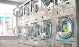 wäscherei Industriewaschmaschinen in der Wäscherei stock abbildung