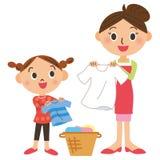 Wäscherei und Elternteil und Kind stock abbildung