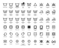 Wäscherei-Vektor-Ikonen eingestellt, volle Sammlung Stockfotos