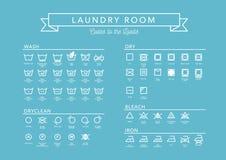 Wäscherei-Vektor-Ikonen eingestellt, volle Sammlung Lizenzfreie Stockbilder