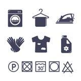 Wäschereiikonen eingestellt Lizenzfreie Stockbilder