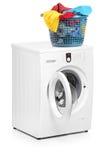 Wäschereikorb auf einer Waschmaschine lizenzfreie stockfotografie