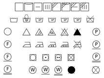Wäschereisymbole Schwarzweiss stock abbildung