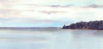 Wässern Sie Ansichtlandschaft - See oder Meer, Insel, Himmel watercolor Vektor Abbildung