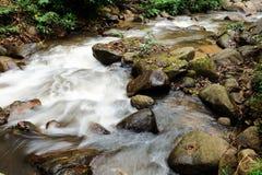 Wässern Sie das Fließen in den Wald an Dorf Bann Mae Mae Stockbilder