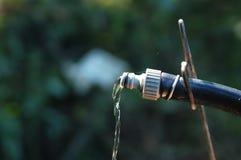 Wässern Sie das Fließen von einer GartenSchlauchleitung auf undeutlichem Grünhintergrund Stockfotografie