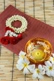 Wässern Sie in der Schüssel, die mit Parfüm und klaren Blumen gemischt wird Lizenzfreie Stockfotos